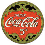 Coca-Cola Round 5 Cents Tin Sign