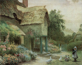 Cottage Home (Girl w/ Ducks) Print