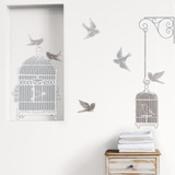 Florence Deviller White Cage and Birds Wall Stickers Decalque em parede