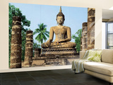 Sukhothai Wat Sra Si Temple Buddha Statue Huge Wall Mural Art Print Poster Fototapeta