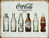 Die Evolution der Coca-Cola-Flasche Blechschild
