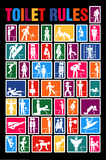 Toilet Rules Collage Art Print Poster Posters