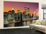 New York City Brooklyn Bridge Sunset Huge Wall Mural Art Print Poster Vægplakat i tapetform