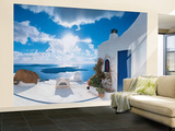 Santorini Sunset Huge Wall Mural Art Print Poster Wallpaper Mural