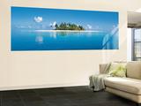 Maldive Island Panoramic Huge Wall Mural Door Poster Art Print Vægplakat i tapetform