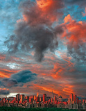 New York City (Clouds Over Skyline) Art Poster Print Prints