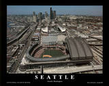 Seattle Mariners and Seahawks Stadiums Sports Posters by Mike Smith