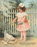 Gallant's Feed Store Girl Feeding Chickens Blechschild