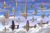USAAF Warbirds WWII Airplane Educational Military Chart Poster Prints