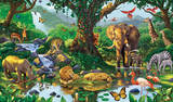 Nature&#39;s Harmony Jungle Animals Wall Mural