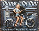 Pump n Go Gas Placa de lata