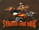 Sturgis Bike Week Wild Boar Motorcycle Placa de lata