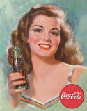 Coca Cola Coke 1940s Brunette Beauty Tin Sign