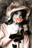 Girl with Rose Art Print Poster Prints