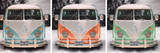 VW Camper Bus Triptych Art Print Poster Posters