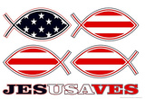 JesUSAves Jesus USA Saves Fish Art Poster Print Photo