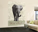 Wild Safari Elephant Huge Wall Mural Art Print Poster Mural