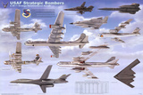 Laminated USAF Strategic Airplane Bombers Educational Military Chart Poster Posters