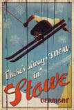 There's Always Snow in Stowe Vermont Ski Art Print Poster Poster