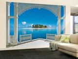 Ein perfekter Tag auf dem Balkon Malediven Fototapete Fototapeten