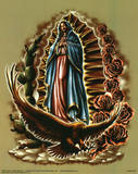 Cultura Mexicana (Our Lady of Guadalupe with Eagle, Cactus, Roses) Art Poster Print Photo