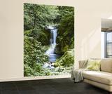 Waterfall in Spring Huge Wall Mural Art Print Poster Veggoverføringsbilde