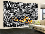 New York City Taxi Cabs Queue Huge Wall Mural Art Print Poster Vægplakat i tapetform