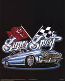Super Sport (Car & Race Flags) Art Poster Print Posters