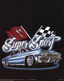 Super Sport (Car & Race Flags) Art Poster Print Posters
