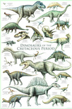 Laminated Dinosaurs Cretaceous Educational Poster Posters