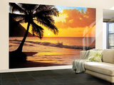 Sonnenuntergang am Strand am Pazifik Fototapete Fototapeten