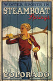 Winter Sports in Steamboat Springs Colorado Ski Art Print Poster Posters