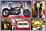 Rock n Roll Bike Motorcycle Art Print Poster Prints