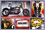 Rock n Roll Bike Motorcycle Art Print Poster Prints