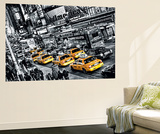 New York City Cabs Queue by Michael Feldmann Mini Mural Huge Poster Art Print Muurposter