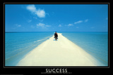 Success Walking on Beach Art Print Poster Posters
