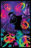 DJ Peace Signs Blacklight Poster Print - Reprodüksiyon