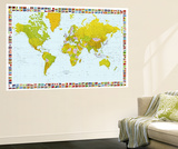 World Map with Flags Mini Mural Huge Poster Print Vægplakat i tapetform