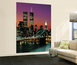 Henri Silberman New York City Brooklyn Bridge Sunset Wall Mural Wallpaper Mural