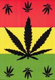 Pot Leaf Flag (Red, Yellow, Green) Art Print Poster Print