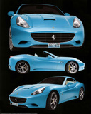 Ferrari California Blue Car Poster Posters