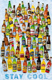 Beer Bottles Stay Cool Art Poster Print Posters