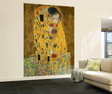 Gustav Klimt The Kiss Huge Wall Mural Art Print Poster Vægplakat i tapetform