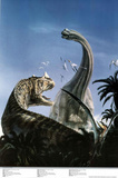 Brachiosaurus and Ceraton Prehistoric Dinosaur Print Poster Posters