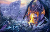 Dragon Attack at the Gorge Fantasy Art Print Poster Prints
