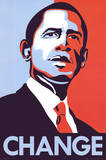 Barack Obama (Change, Red White & Blue) Art Poster Print Poster
