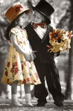 Boy and Girl on First Date Art Print Poster Posters