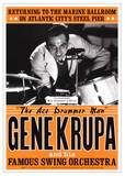 Gene Krupa JAZZ POSTER RARE Atlantic City swing drummer Poster