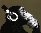 The Chimp Stereo Headphones Art Print Poster Print