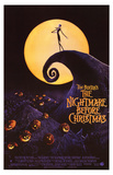 Nightmare Before Christmas Movie (Jack on Cliff, Pumpkins) Poster Print Masterprint